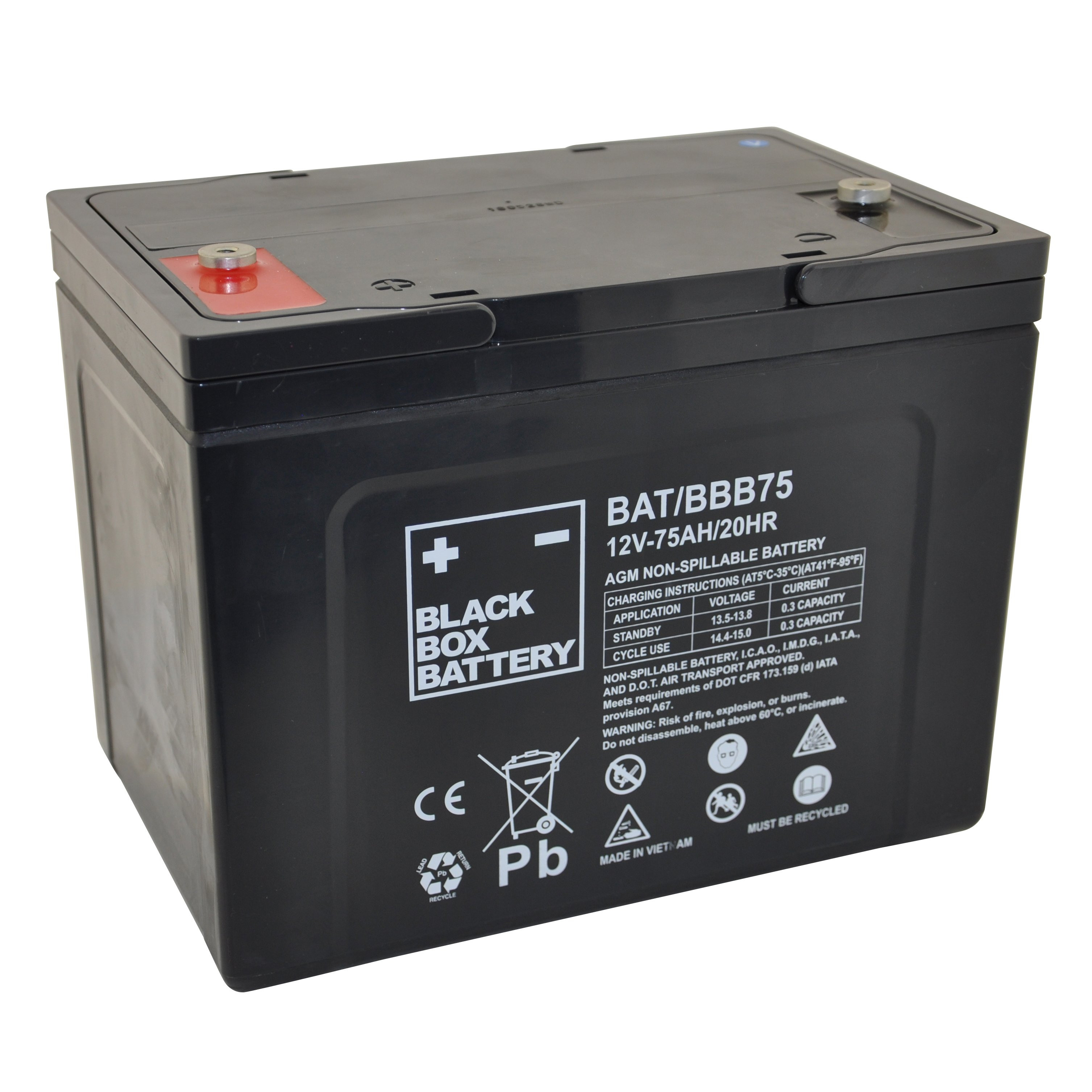 12v 75ah bbb battery and charger package lead acid. Black Bedroom Furniture Sets. Home Design Ideas