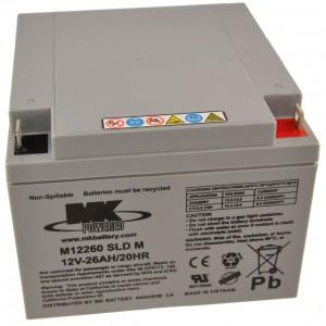 12V 26Ah MK Sealed Lead Acid (AGM) Mobility Scooter Battery